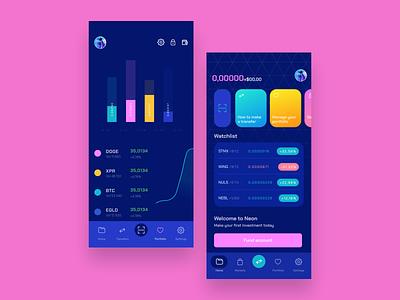 Neon E-wallet blockchain etherium bitcoin finance app finance fintech product widgets trade market figma charts clean app animation interface ux ui