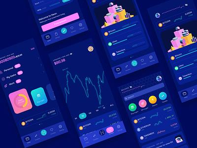 Neon UI Kit finance app finance business dark app cryptocurrency crypto exchange wallet trade crypto wallet banking finance crypto ios interface ux ui