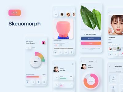 Neuomorph UI Kit uikit figma chart bank wallet finance effects glassmorphism neumorphism skeuomorphism clean c4d ios app 3d animation design interface ux ui