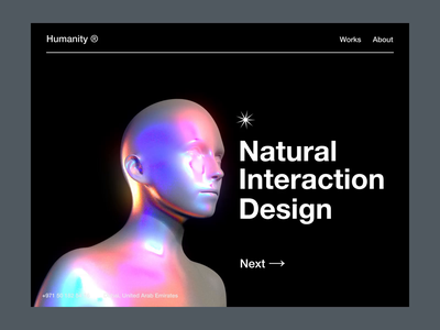 Humanity studio website metal interactions dailyui aftereffects ae effects homepage lights material iridescent octane motion c4d 3d app animation design interface ux ui