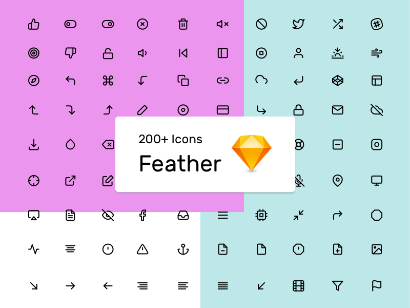 Feather Icons Set icons vector sketch free