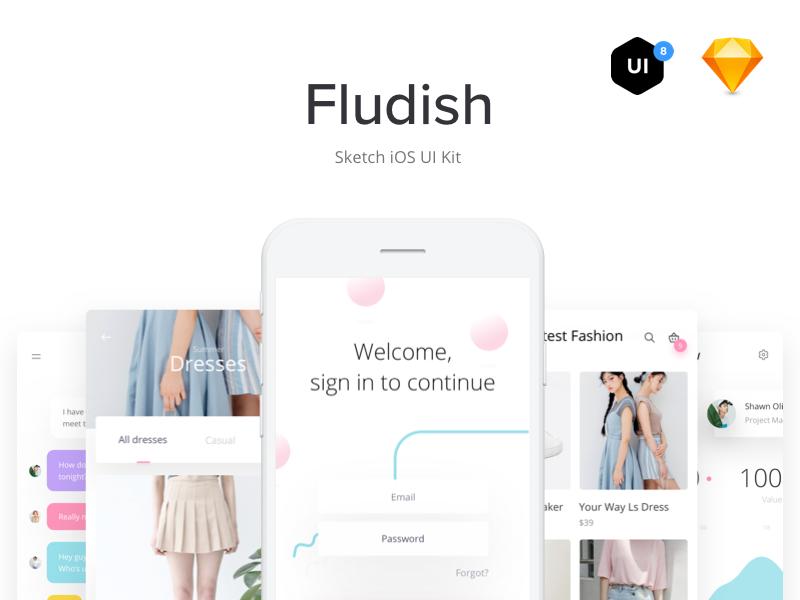 Fludish — Fluent iOS UI Kit designed for Sketch. ui8 sketch ui tool uikit app ios minimalism fluent