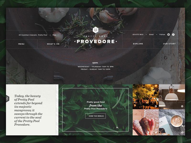 Pretty Pool Provedore Website layout grid dark ui homepage restaurant webdesign clean food website