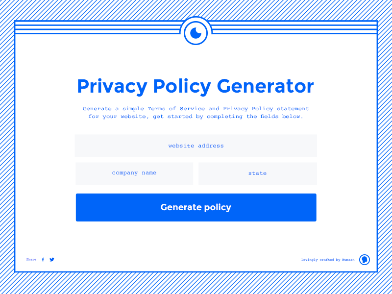 Privacy Policy Generator flat blue ui generator website policy privacy