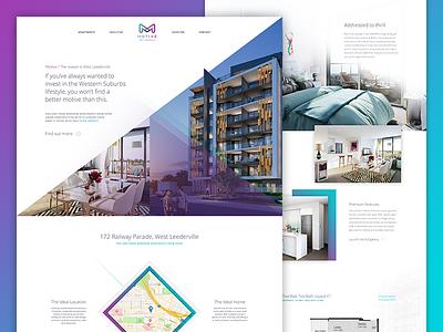 Motive Apartments real estate purple angles apartment clean ui web design layout website