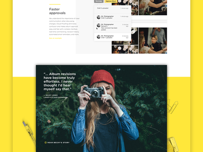 Cloud Proofing Landing Page design website illustration layout colour flat photography yellow product clean ui web design