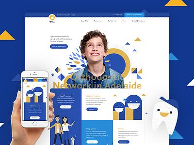 ONiA Homepage website ui layout design concept web design illustration children orthodontist dentist homepage