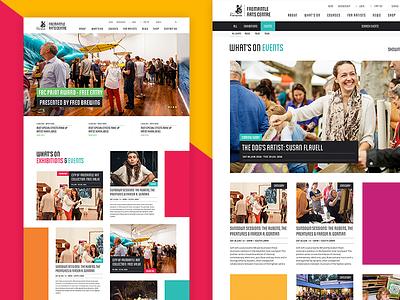 Fremantle Arts Centre website ui layout design clean concept grid web design venue marketing arts homepage