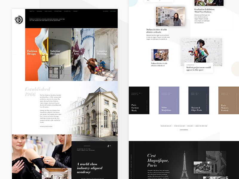 Paris American Academy Website 🇫🇷 grid website ui layout design concept paris web design photography art fashion homepage