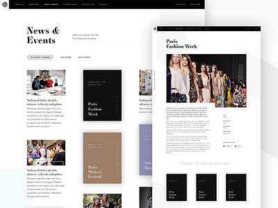 News & Events — Paris American Academy Website 🇫🇷 events news website ui layout design concept paris web design photography art fashion