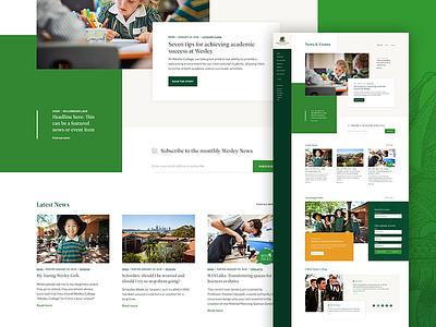 News & Events WIP green school school website ui website layout grid blog events news