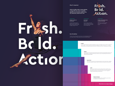 Fresh. Bold. Action. purple typography teal. pink colourful website web page animation diagram
