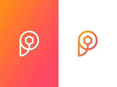 Unused 'P' Mark p logomark monogram gradient identity logo branding finance letter