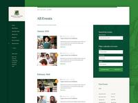 School Event Calendar events blog grid layout website ui school website school green