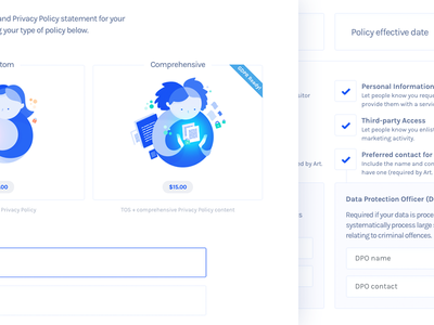 Get Terms V.3 - Privacy Policy Generator (GDPR ready!) form side project startup website ui layout blue illustration generator privacy policy web design