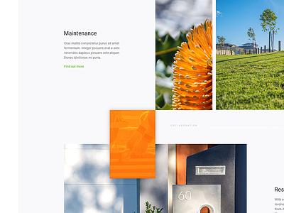 Landscaping Website Homepage grid website ui layout design concept web design homepage landscaping gardening construction vibrant