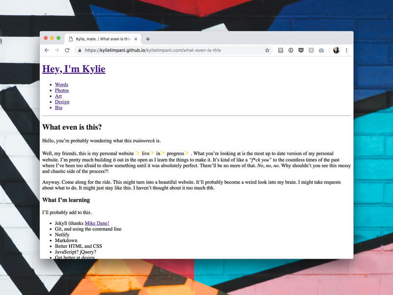 Personal Website 2019 [WIP 001]: In the Wild concept website ux ui web design wip work in progress designer times new roman accessible jekyll website development portfolio personal website