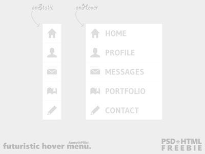Futuristic Hover Menu (PSD+HTML Freebie) psd html freebie futuristic hover menu monochrome photoshop coding static transition css download mediafire psddd