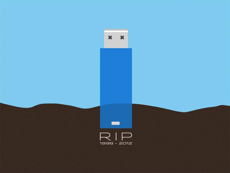 RIP Pen Drives 1998-2012 flash drive adobe illustrator photoshop rip dead ground blue brown pen drive