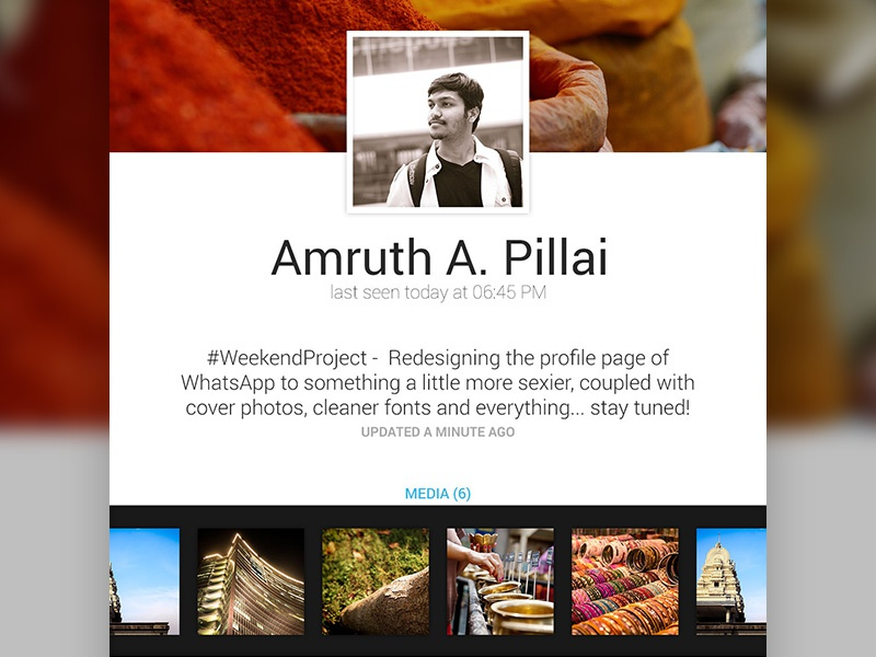 Profiles on WhatsApp Redesign whatsapp redesign profile pages media groups android ui ux photoshop photography photo