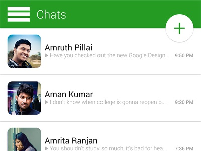 WhatsApp - Google Material Design google material design whatsapp redesign home android photoshop ui ux mobile