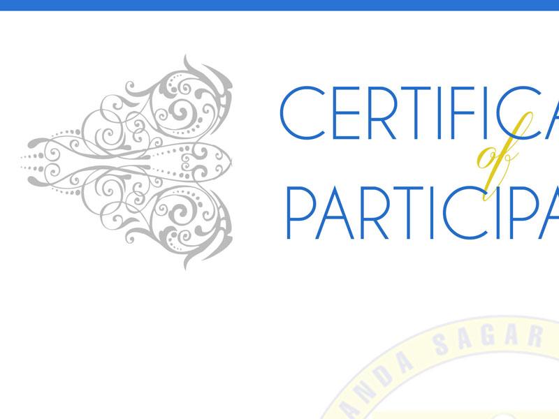 College Hackathon Participation Certificate print elegant calligraphic certificate college