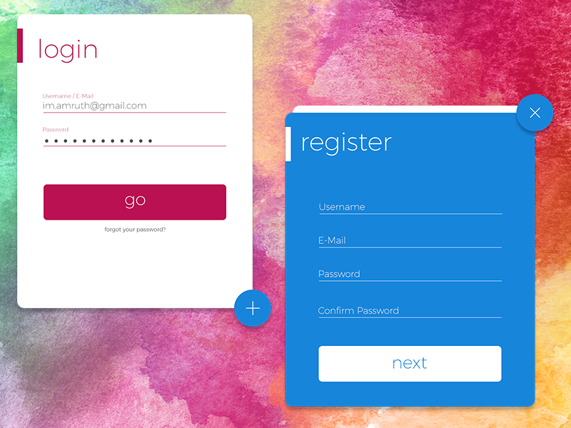 Material Login/Register UI colors ui register login material