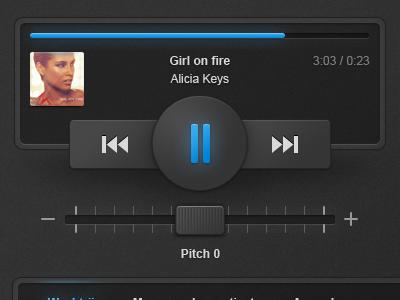 Music interface music play pause rewind player pitch glow alicia keys gui ui