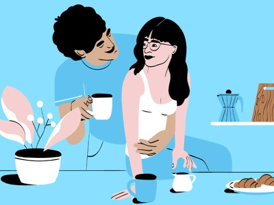 Morning vibes flat character vector 2d illustration illustrator morning couple