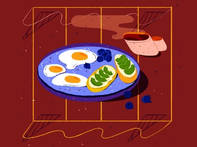 Morning routine food coffee morning breakfast texture flat 2d vector illustration