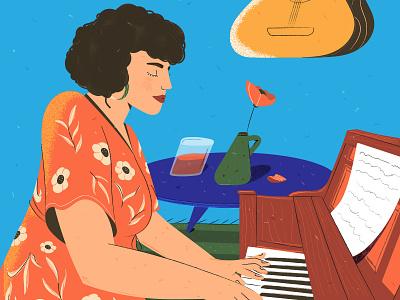 Home concert musician portrait music concert quarantine texture character flat 2d vector illustration