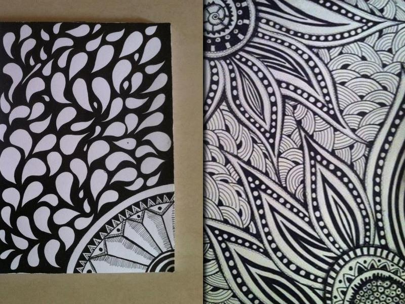 Zentangle Pattern  design black and white doodle zentangle pattern