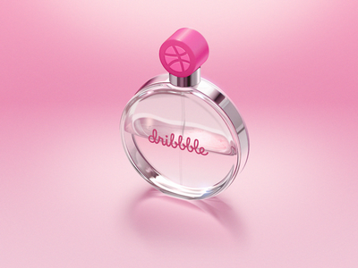 My first debut shot first perfume vial metal flacon illustration pink light glass dribbble
