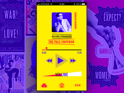 MUSIC. Inspired by Paula Scher music player design ui interface app color application creative mobile ux flat graphic design