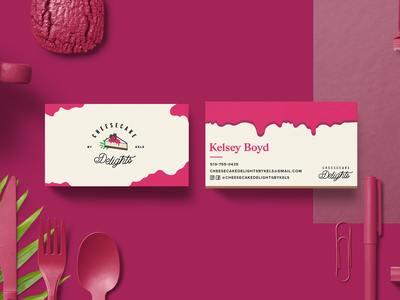 Cheesecake Delights - Business Cards mockup stationery dessert cheesecake design logo identity print business cards