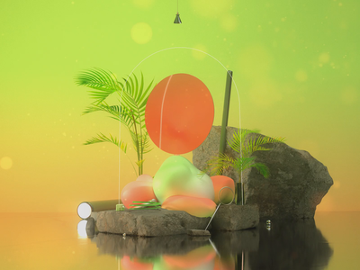 Reflection II realistic plants design illustration iridescent blender c4d after effects redshift cinema4d digital art mirror reflection gradient geometric minimal loop animation 3d animation 3d