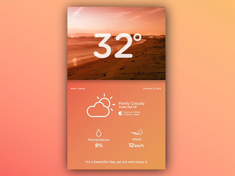 Weather UI Concept icons typography gradient graphic design weather mobile ux ui