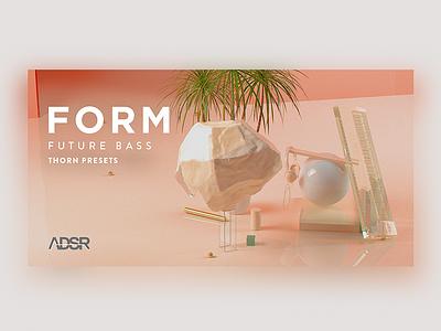 """Form"" - Banner future abstract gold pink photoshop digital music edm graphic design artwork cinema4d 3d"