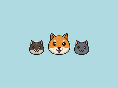 Rio & the gang logo grey cat dog shibainu shiba inu shiba illustrator ui vector illustration design flat