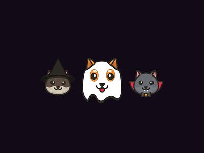 Halloween for the gang halloween party vampire witch ghost cat dog shiba halloween illustrator ui vector logo illustration design flat