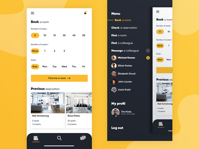 Book a room ! picker menu message room booking book a room ux gradient branding icon flat ui colleagues find app design