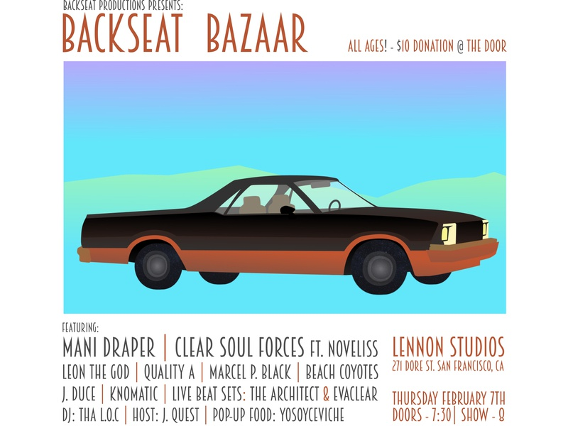 Backseat Bazaar california noveliss mani draper clear soul forces beach coyotes typography design vector illustration aftereffects flyer design backseat productions san francisco
