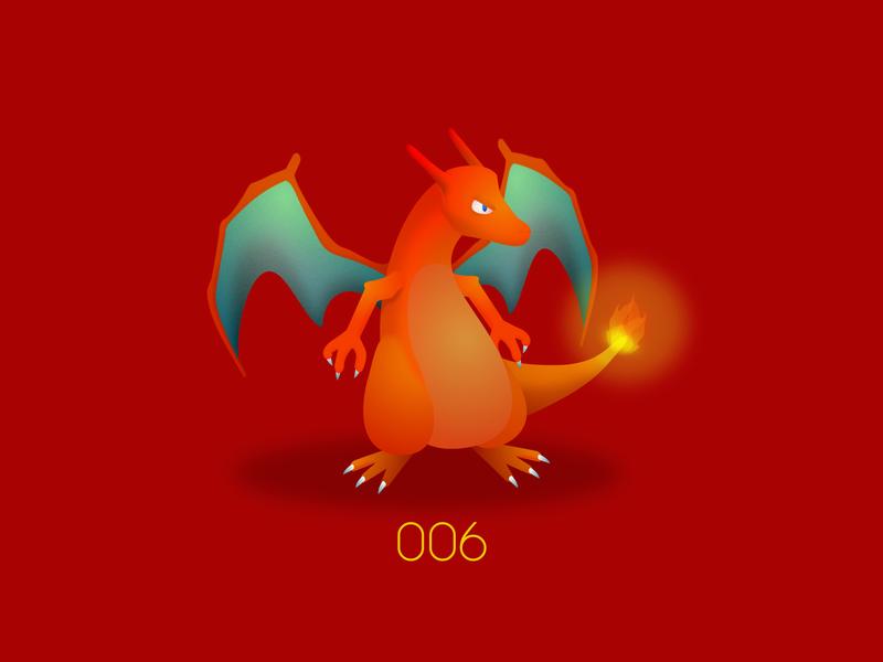 PKMN : 006 : Charizard starter fire type charizard nintendo pokemon go pokemon kanto game freak san francisco design vector illustration aftereffects
