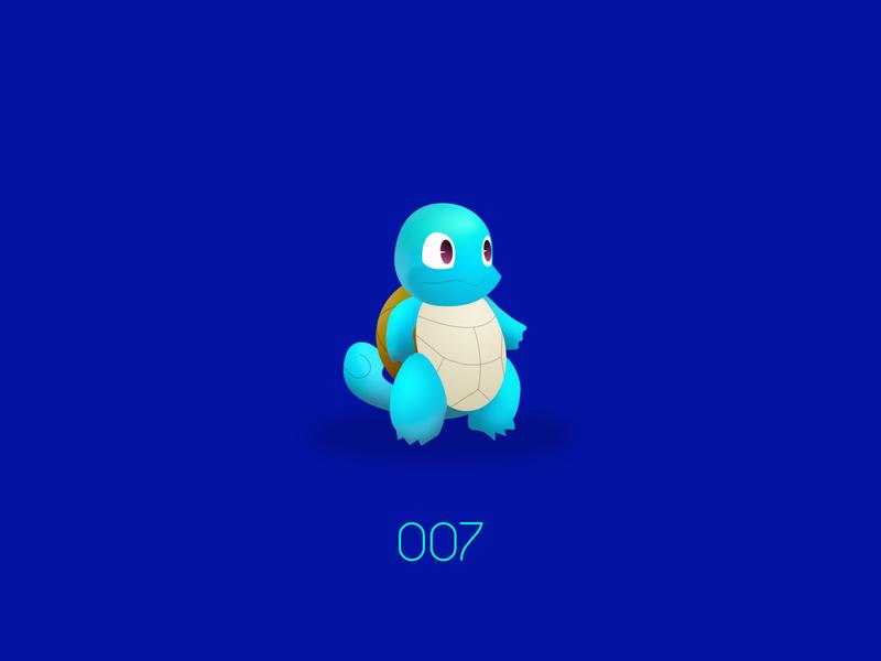 PKMN : 007 : Squirtle water type starter nintendo pokemon go pokemon kanto game freak san francisco design vector illustration aftereffects