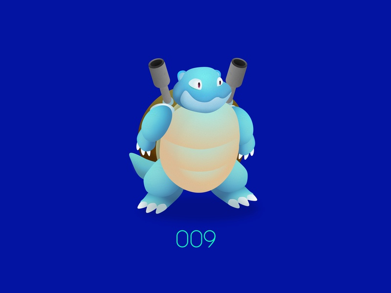 PKMN : 009 : Blastoise water type starter nintendo pokemon go pokemon kanto game freak san francisco design vector illustration aftereffects