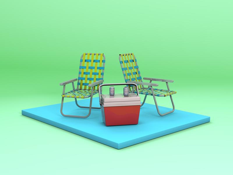 Summer Vibes 3d model camping school of motion som c4d bootcamp cinema 4d c4d almanac summertime render 3d beer can beer cooler lawn chair summer