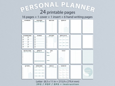 Printable personal planner pages notebook design illustration black letters white background blue color cover insert personal planner planner planner pages design pattern design graphic design vector