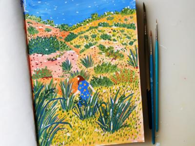 Desert Trip design desert nature hand drawn goyache painting art drawing illustration