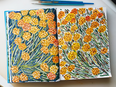 Wild flowers pattern nature flowers hand drawn gouache painting art drawing illustration