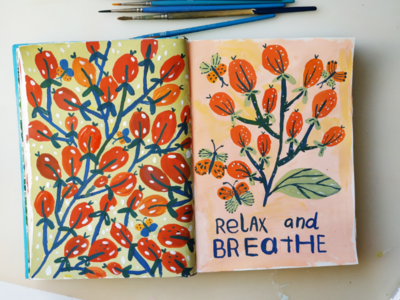 Relax and breathe pattern design flowers nature hand drawn gouache painting art drawing illustration
